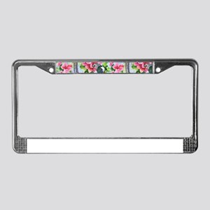 Colorful Wild Peasant and pink License Plate Frame