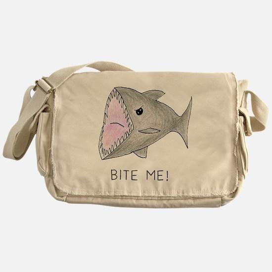 Funny Shark Bite Me Messenger Bag