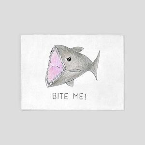 Funny Shark Bite Me 5'x7'Area Rug