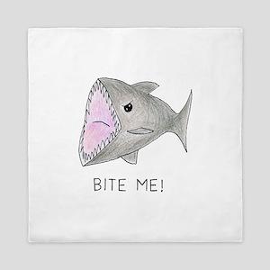 Funny Shark Bite Me Queen Duvet