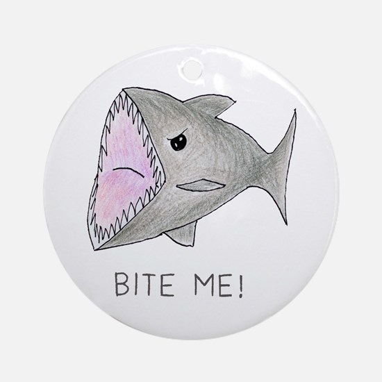 Funny Shark Bite Me Round Ornament