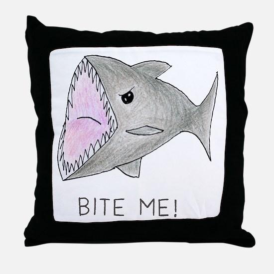 Funny Shark Bite Me Throw Pillow