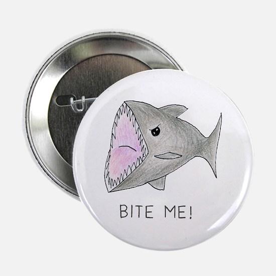 "Funny Shark Bite Me 2.25"" Button"
