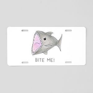 Funny Shark Bite Me Aluminum License Plate