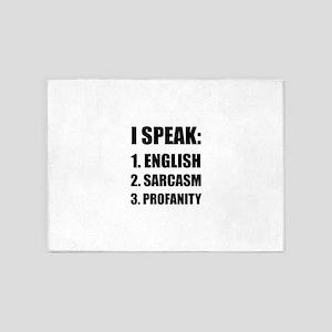 English Sarcasm Profanity 5'x7'Area Rug