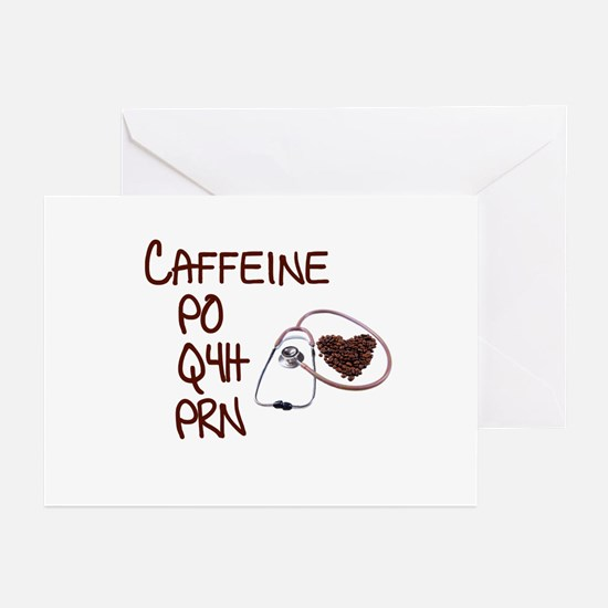 caffeine prescription Greeting Cards (Pk of 10)