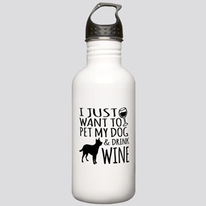 DRINK WINE AND PET DOG Stainless Water Bottle 1.0L