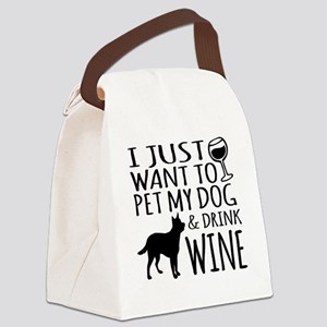 DRINK WINE AND PET DOG Canvas Lunch Bag