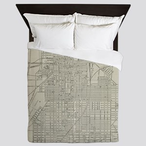 Vintage Map of Savannah Georgia (1917) Queen Duvet