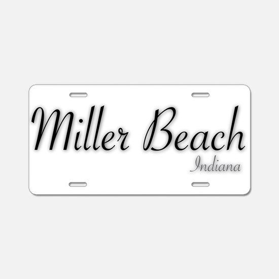 Miller Beach Logo Aluminum License Plate