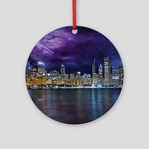 Spacey Chicago Skyline Round Ornament