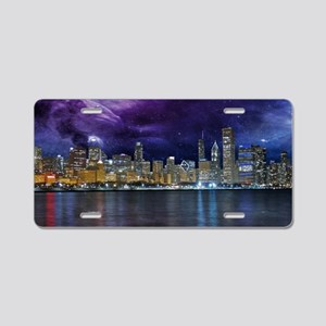 Spacey Chicago Skyline Aluminum License Plate