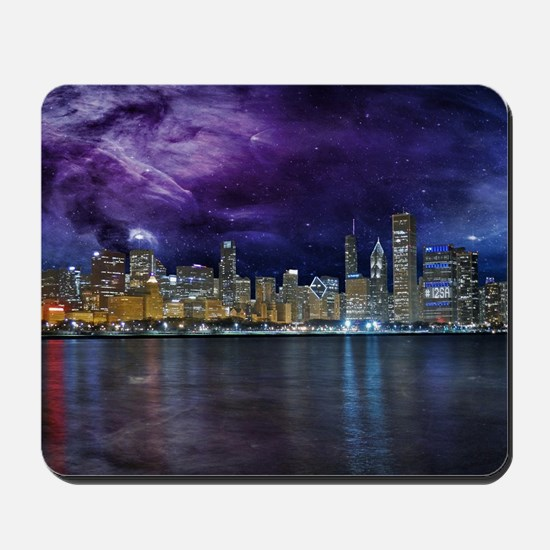 Spacey Chicago Skyline Mousepad