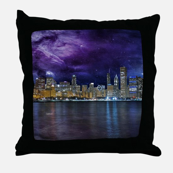 Spacey Chicago Skyline Throw Pillow