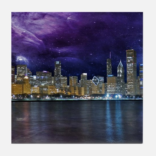 Spacey Chicago Skyline Tile Coaster