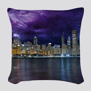 Spacey Chicago Skyline Woven Throw Pillow