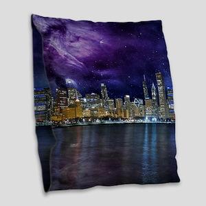 Spacey Chicago Skyline Burlap Throw Pillow