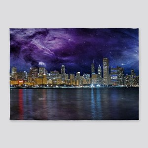 Spacey Chicago Skyline 5'x7'Area Rug