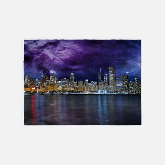 Spacey Chicago Skyline 5'x7'Area Rug