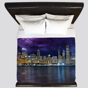 Spacey Chicago Skyline King Duvet