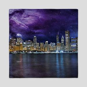 Spacey Chicago Skyline Queen Duvet