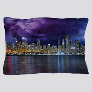 Spacey Chicago Skyline Pillow Case