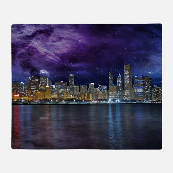Spacey Chicago Skyline Throw Blanket