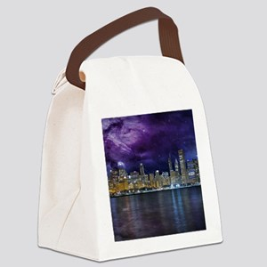 Spacey Chicago Skyline Canvas Lunch Bag