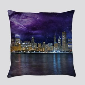 Spacey Chicago Skyline Everyday Pillow
