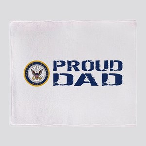 U.S. Navy: Proud Dad (Blue & White) Throw Blanket