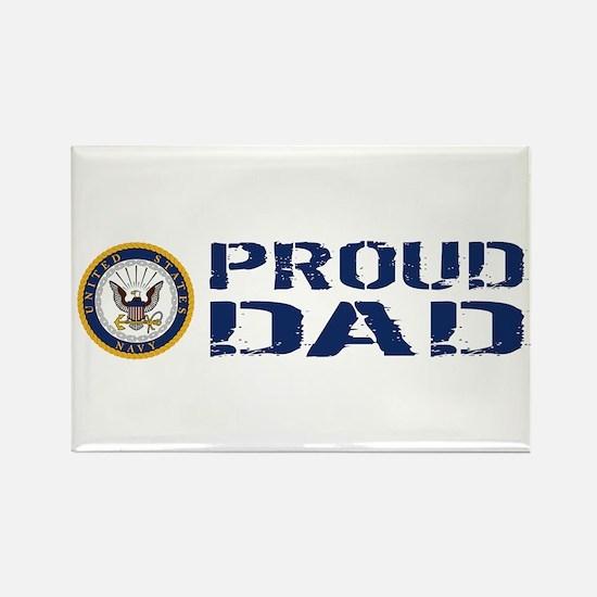 U.S. Navy: Proud Dad (Blue & Whit Rectangle Magnet