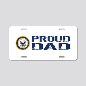 U.S. Navy: Proud Dad (Blue Aluminum License Plate