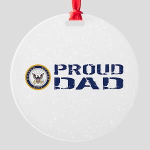 U.S. Navy: Proud Dad (Blue & White) Round Ornament