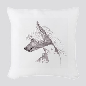 Chinese Crested Woven Throw Pillow