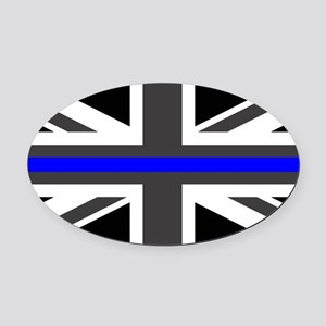 Police: British Flag & The Thin Bl Oval Car Magnet