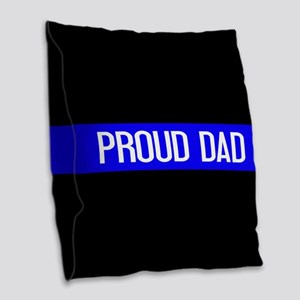Police: Proud Dad (The Thin Bl Burlap Throw Pillow