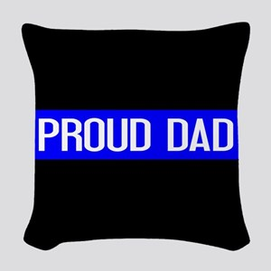 Police: Proud Dad (The Thin Bl Woven Throw Pillow