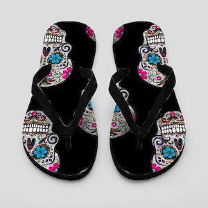 sequin Sugar Skulls Flip Flops
