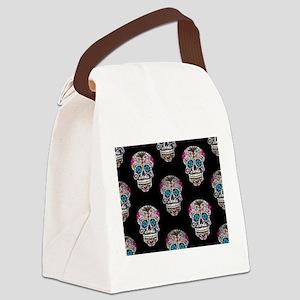 sequin Sugar Skulls Canvas Lunch Bag