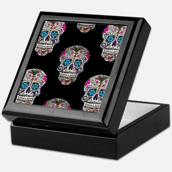 sequin Sugar Skulls Keepsake Box