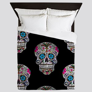 sequin Sugar Skulls Queen Duvet