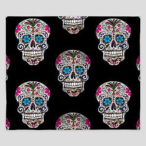 sequin Sugar Skulls King Duvet