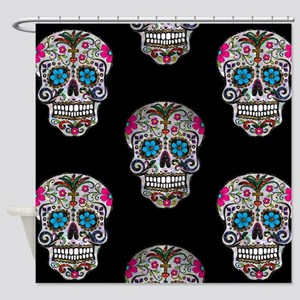 sequin Sugar Skulls Shower Curtain