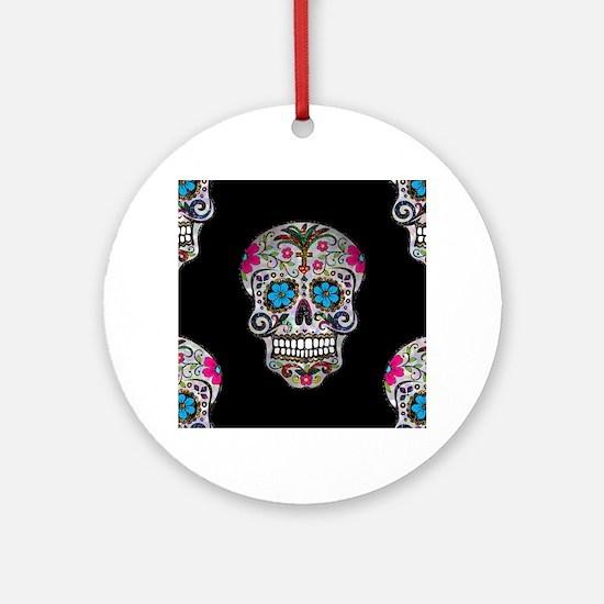 sequin Sugar Skulls Round Ornament