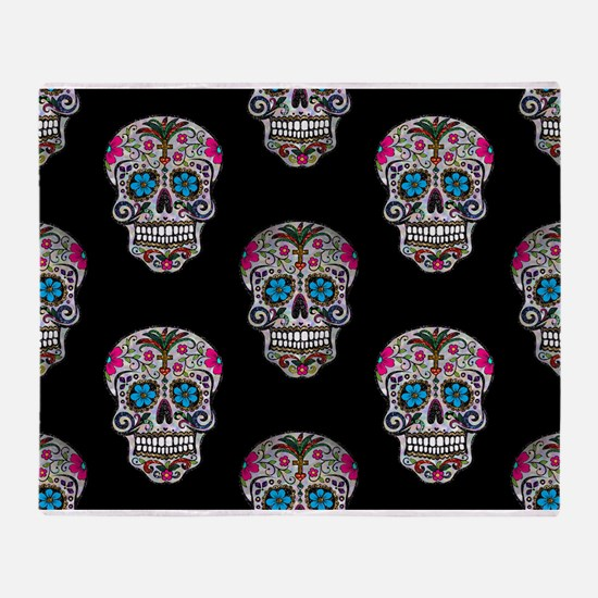 sequin Sugar Skulls Throw Blanket