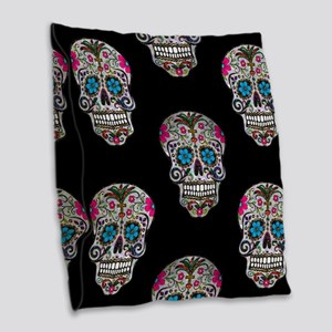 sequin Sugar Skulls Burlap Throw Pillow
