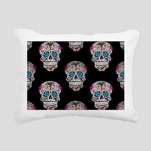 sequin Sugar Skulls Rectangular Canvas Pillow