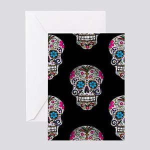 sequin Sugar Skulls Greeting Cards