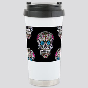 sequin Sugar Skulls Stainless Steel Travel Mug