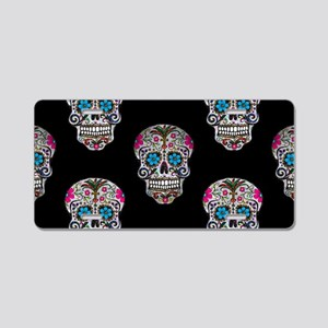 sequin Sugar Skulls Aluminum License Plate